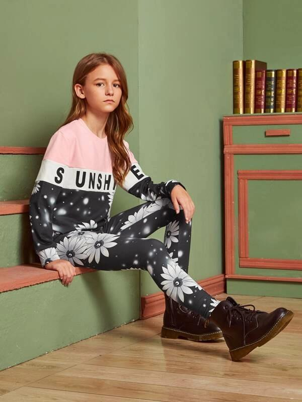 Girls Colorblock Floral Print Pullover & Leggings Set