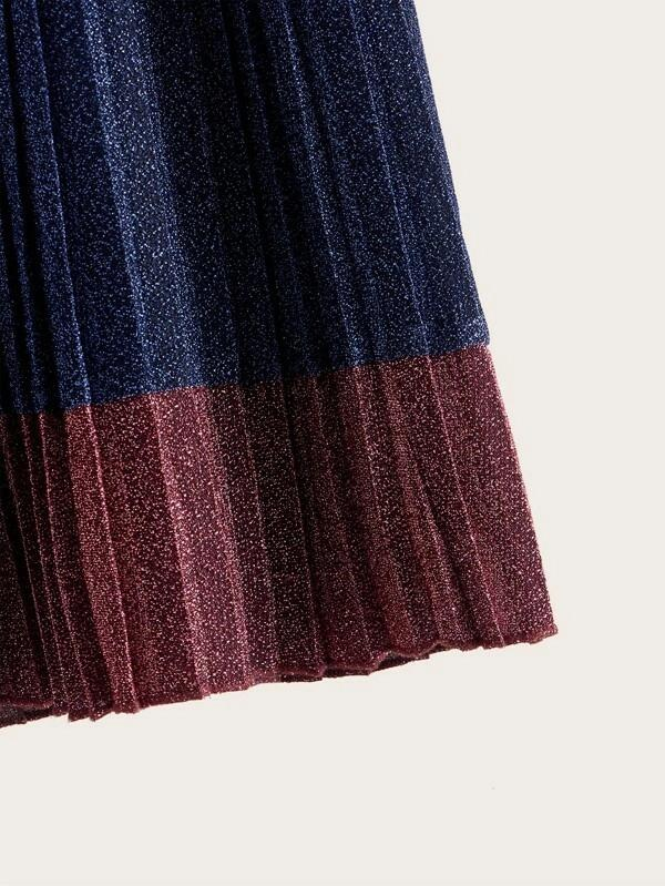 Girls Colorblock Pleated Glitter Skirt