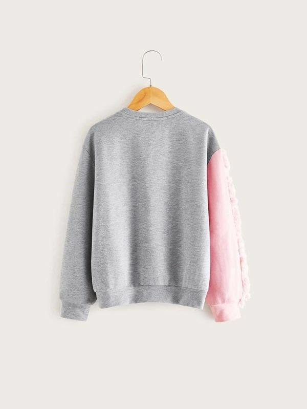 Girls Colorblock Raw Trim Unicorn Print Pullover