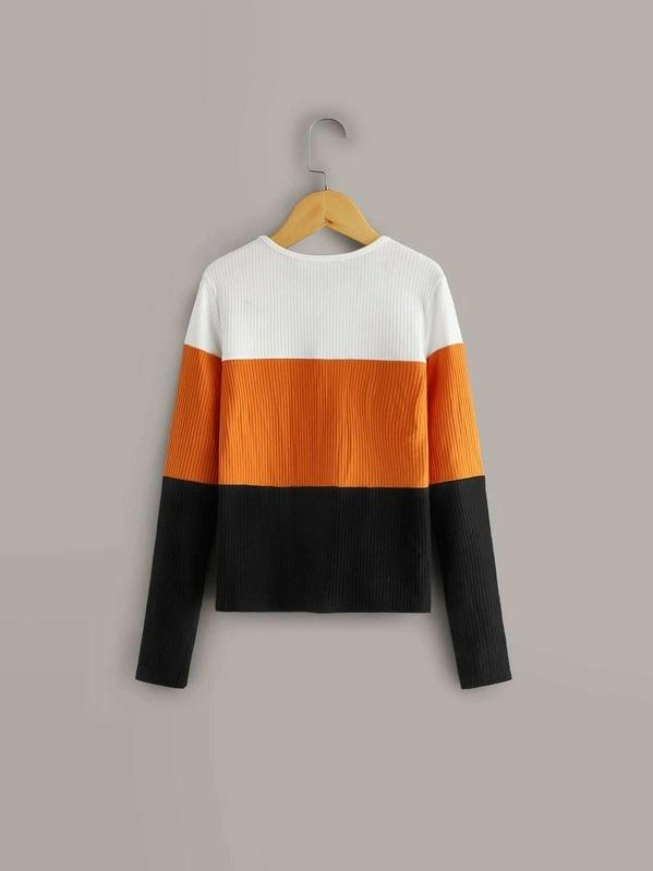 Girls Colorblock Rib-Knit Top