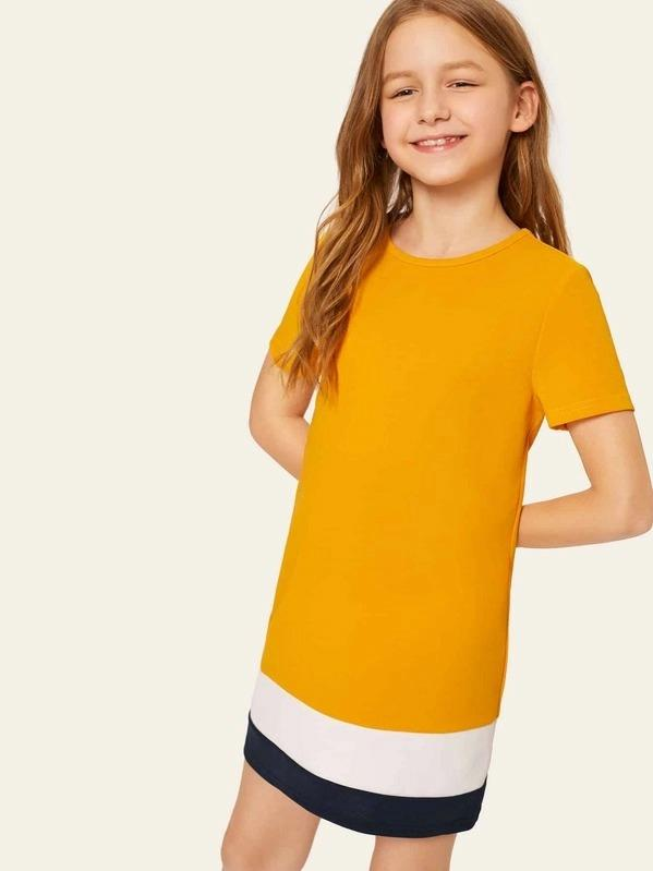 Girls Colorblock Round Neck Tunic Dress