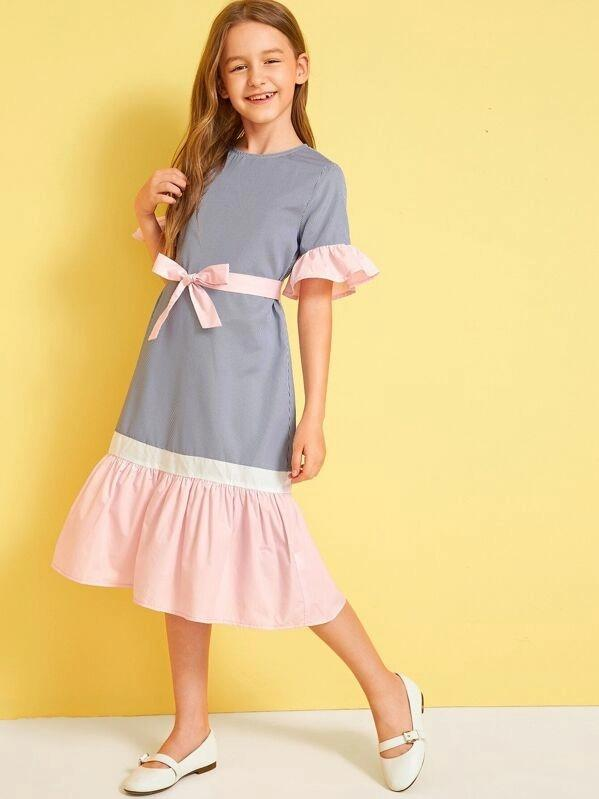 Girls Colorblock Ruffle Trim Belted Dress