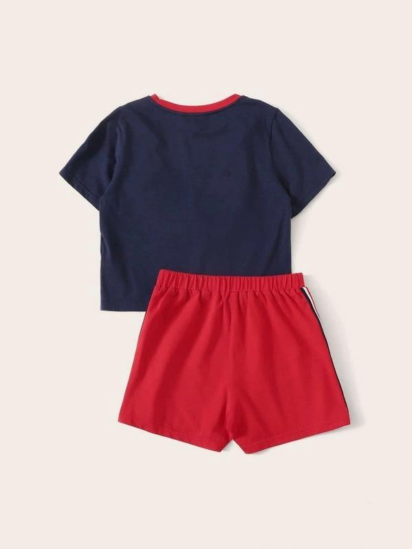 Girls Colorblock Ruffle Trim Top & Side Striped Shorts Set