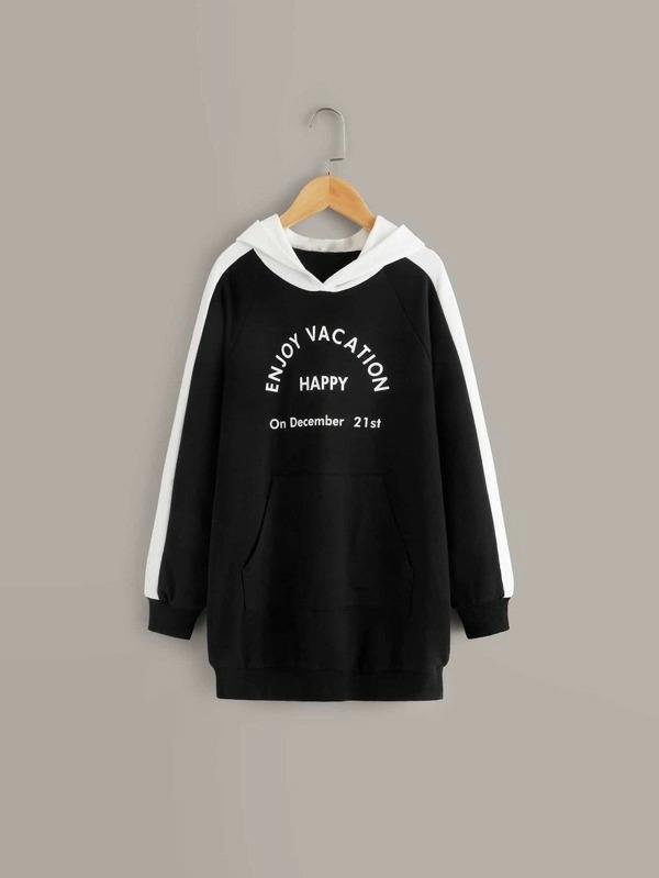 Girls Colorblock Slogan Graphic Hoodie