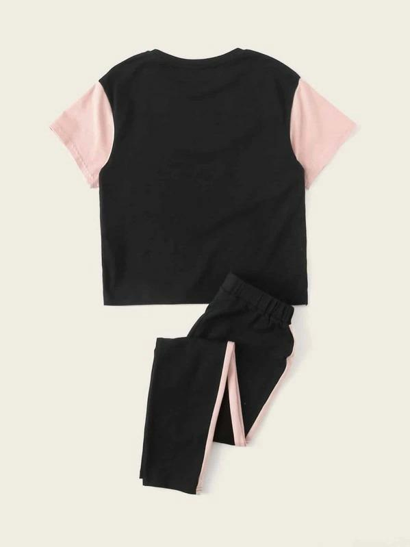 Girls Colorblock Top & Drawstring Waist Pants Set
