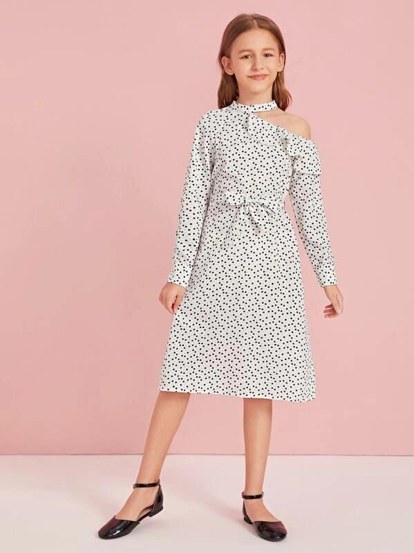 Girls Confetti Heart Print Cutout Detail Dress