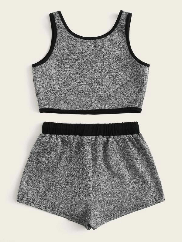 Girls Contrast Binding Tank Top & Drawstring Waist Shorts Set