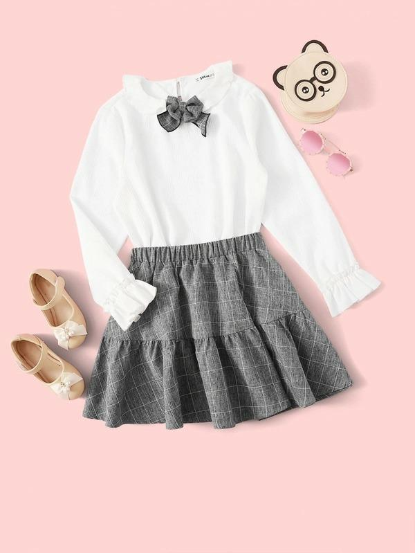 Girls Contrast Bow Detail Ruffle Cuff Top & Grid Skirt Set