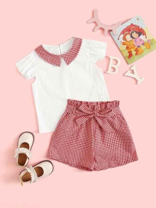 Girls Contrast Collar Top & Paperbag Waist Belted Shorts Set