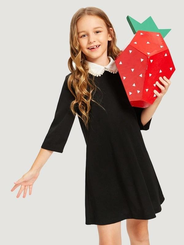 Girls Contrast Collar With Pearl Tunic Dress