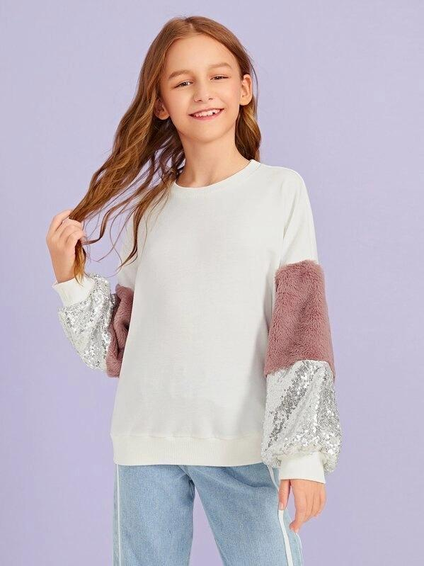 Girls Contrast Faux Fur & Sequin Lantern Sleeve Pullover