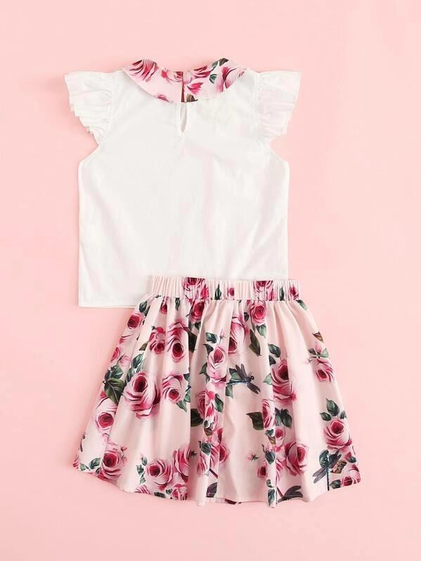 Girls Contrast Floral Collar Top And Skirt Set