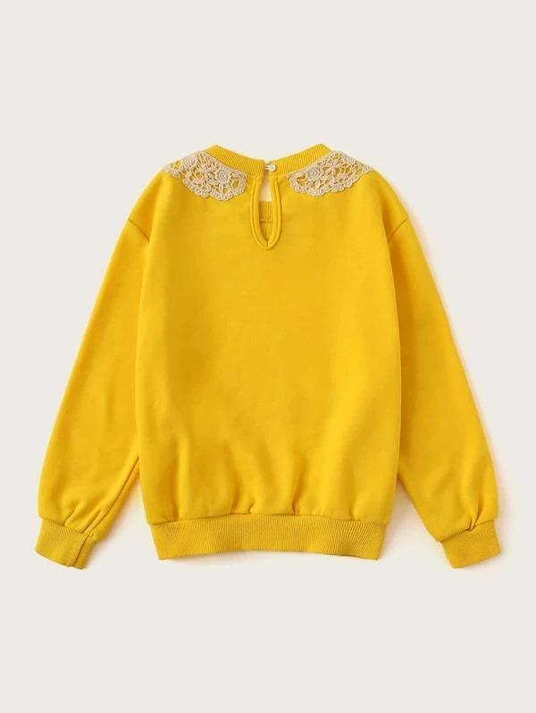 Girls Contrast Guipure Lace Trim Pullover