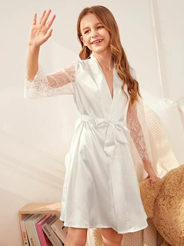 Girls Contrast Lace Satin Robe With Belt
