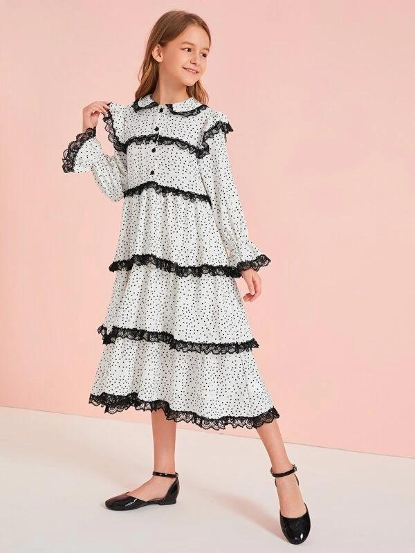 Girls Contrast Lace Trim Half Placket Polka Dot Dress