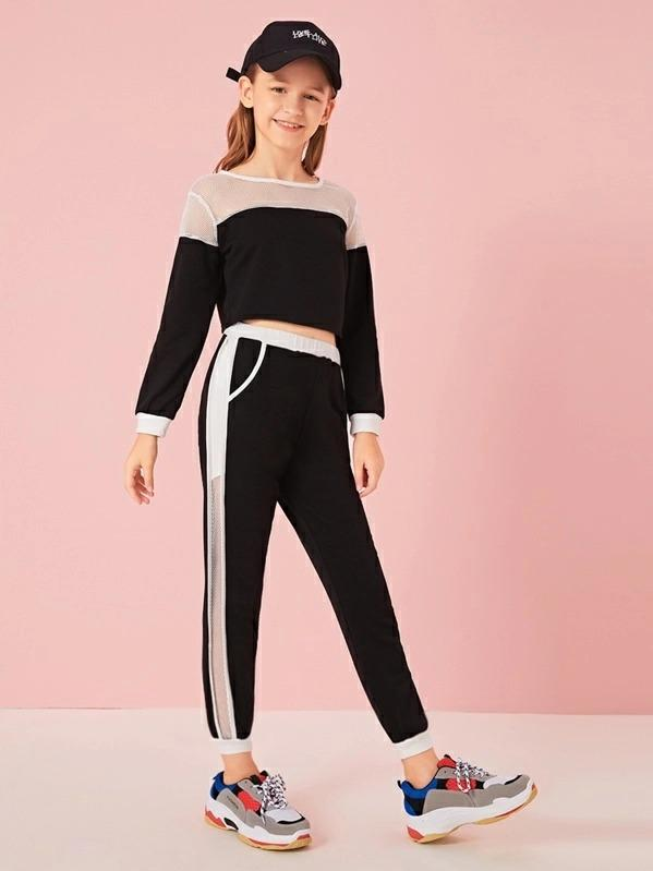 Girls Contrast Mesh Top & Tape Side Pants Set