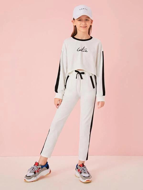 Girls Contrast Neck Striped Side Pullover & Pants Set