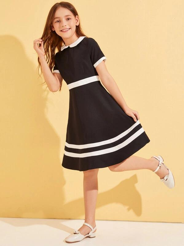 Girls Contrast Peter-Pan-Collar Fit & Flare Dress
