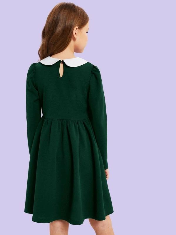 Girls Contrast Peter Pan Collar Pearl Detail Dress