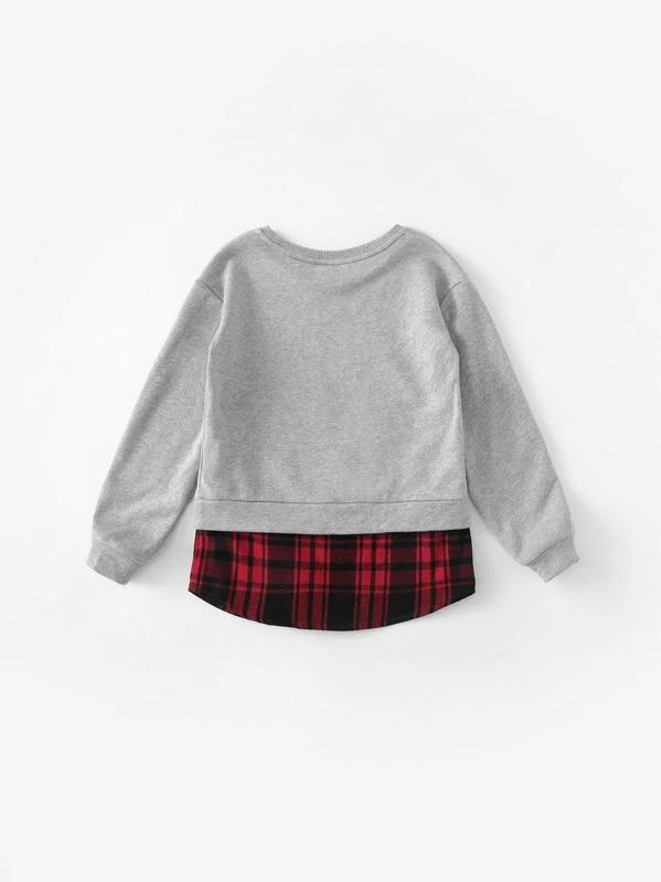 Girls Contrast Plaid Hem Lettering Sweatshirt