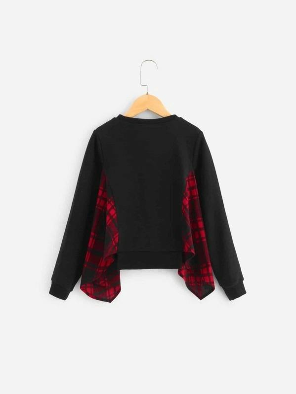 Girls Contrast Plaid Pullover