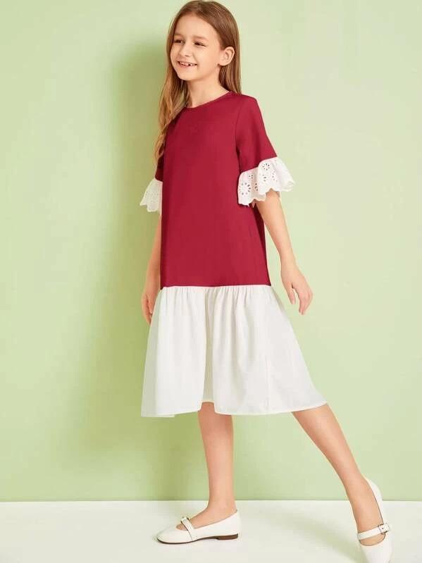 Girls Contrast Schiffy Cuff Two Tone Dress