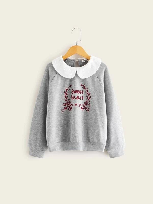 Girls Contrast Schiffy Peter-Pan-Collar Raglan Sleeve Sweatshirt