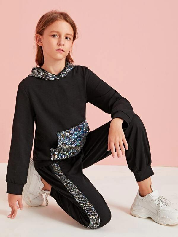 Girls Contrast Sequin Hoodie & Striped Side Joggers Set