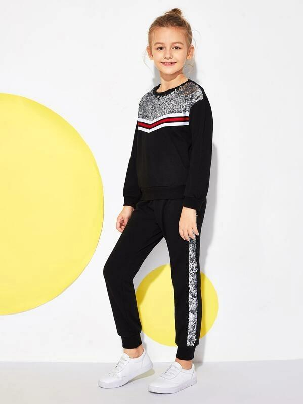 Girls Contrast Sequin Pullover & Pants Set