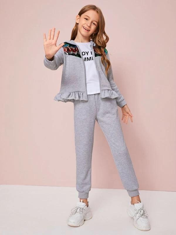 Girls Contrast Sequin Ruffle Hem Hoodie & Sweatpants Set