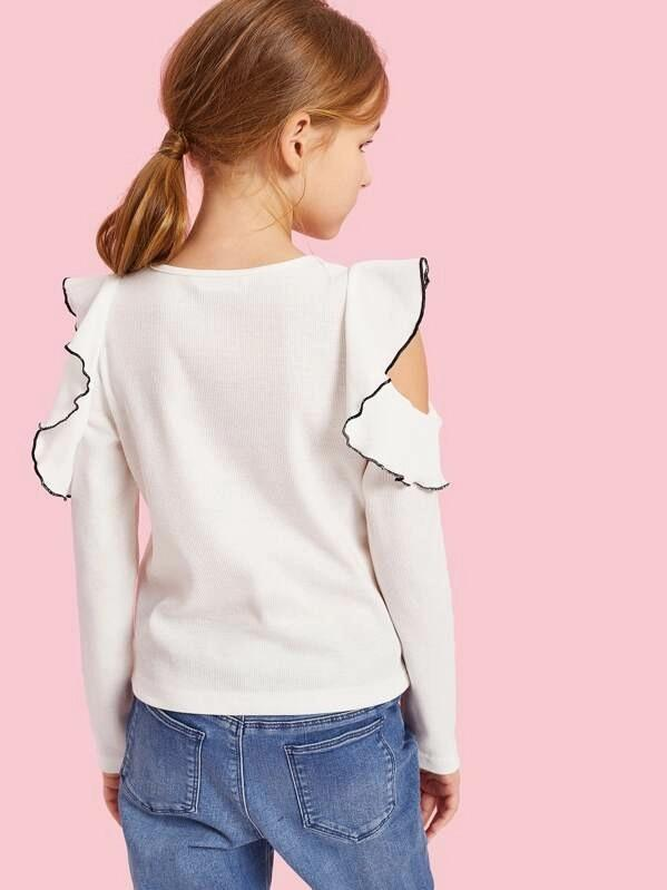 Girls Contrast Tipping Ruffle Cutout Sleeve Tee