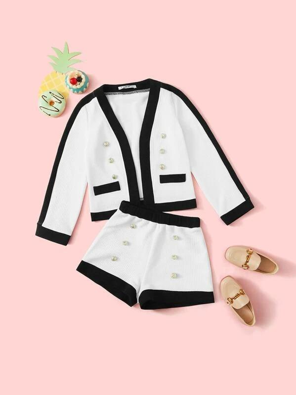 Girls Contrast Trim Button Detail Textured Jacket And Shorts Set