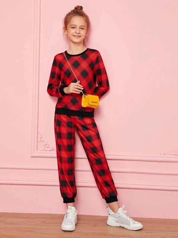 Girls Contrast Trim Plaid Pullover & Sweatpants Set