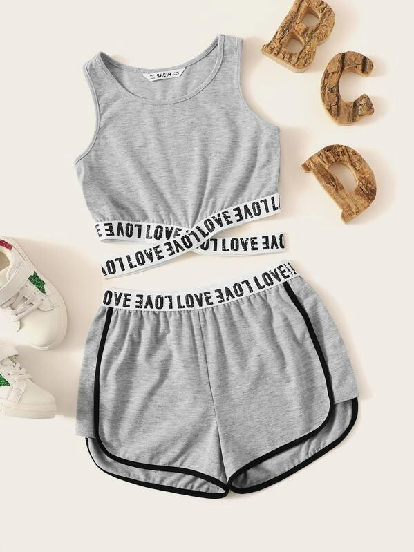 Girls Crisscross Lettering Tape Tank Top & Shorts Set
