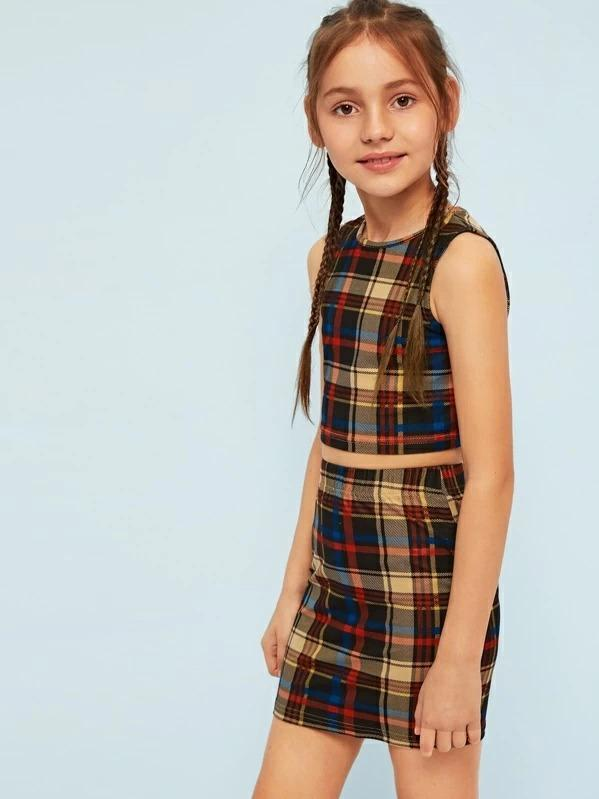 Girls Crop Plaid Tank Top & Skirt Set