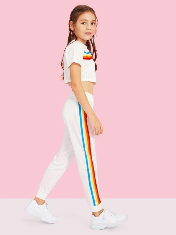 Girls Crop Rainbow Striped Tape Top & Sweatpants Set