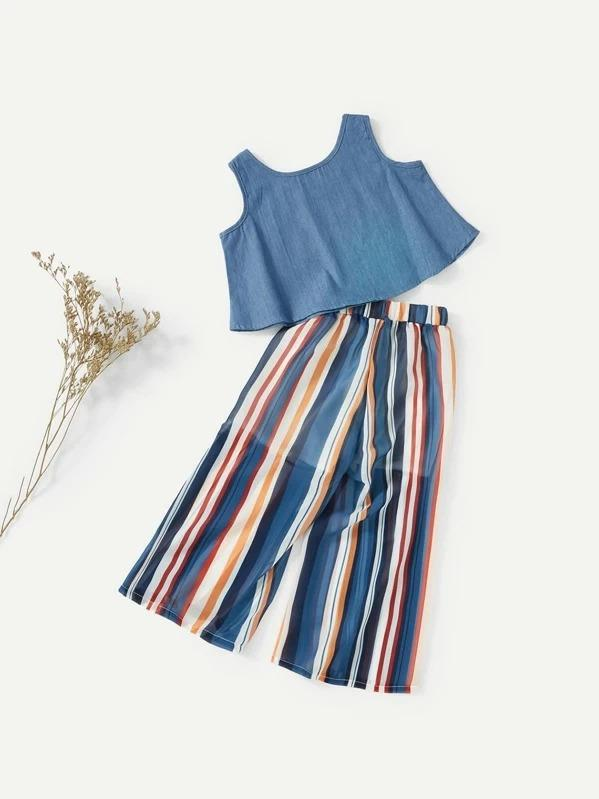 Girls Crop Vest With Striped Wide Leg Pants