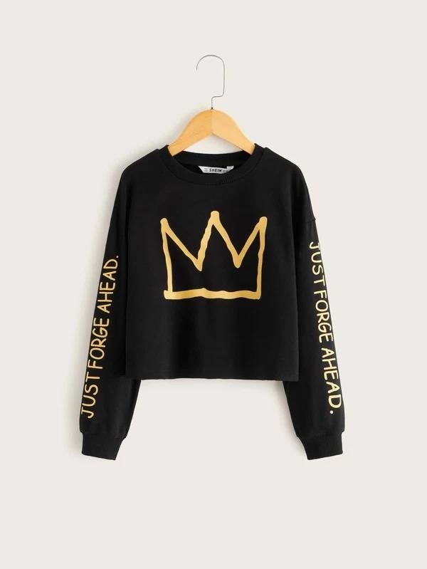 Girls Crown And Slogan Graphic Sweatshirt