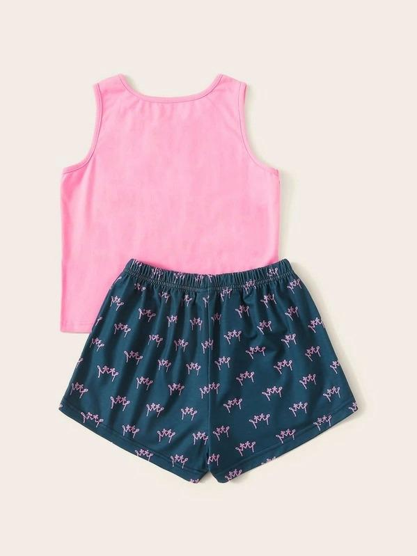 Girls Crown & Letter Print PJ Set
