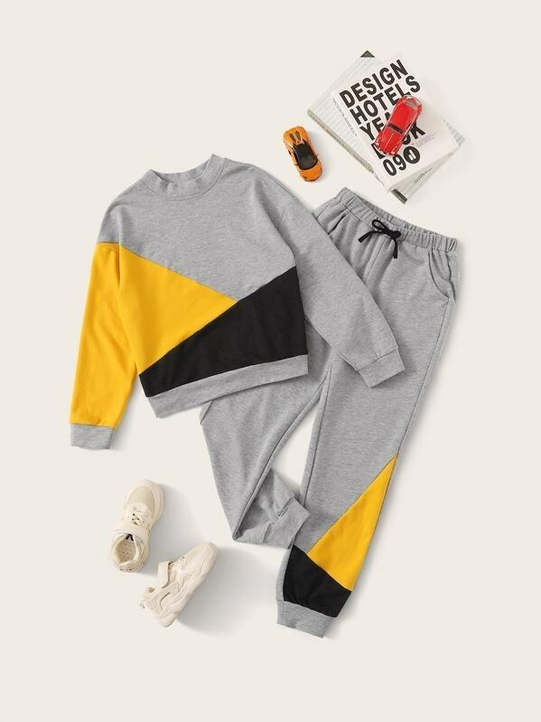 Girls Cut-And-Sew Pullover & Pants Set
