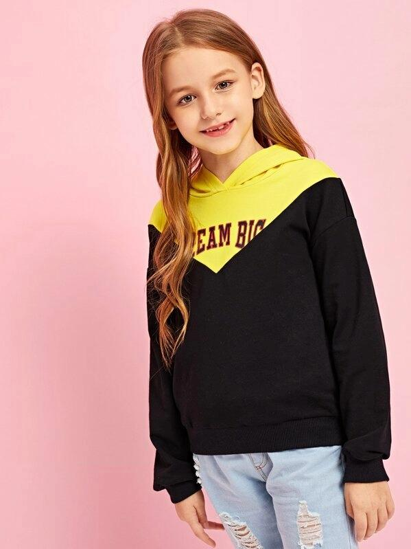 Girls Cut And Sew Letter Front Hoodie Sweatshirt