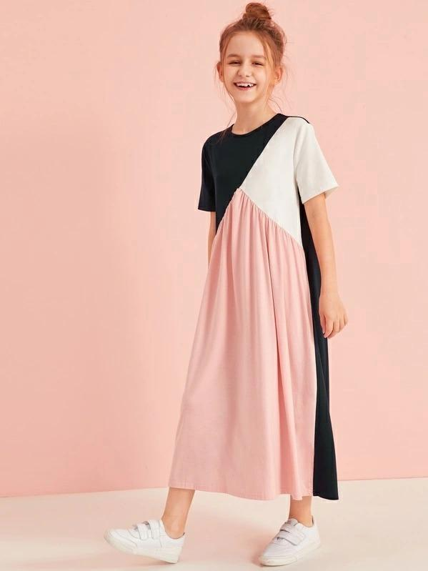 Girls Cut And Sew Tee Dress