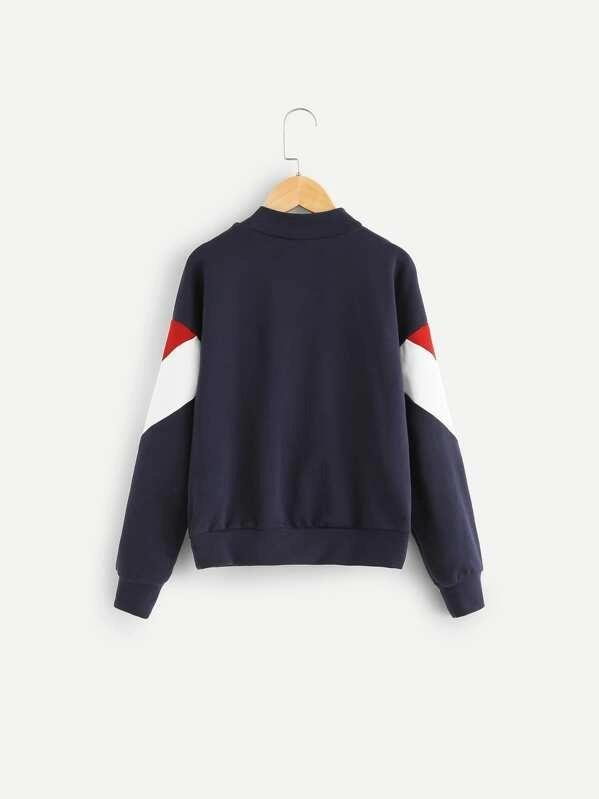 Girls Cut And Sew Zip Half Placket Sweatshirt