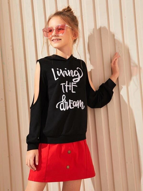 Girls Cut Out Sleeve Slogan Graphic Hoodie