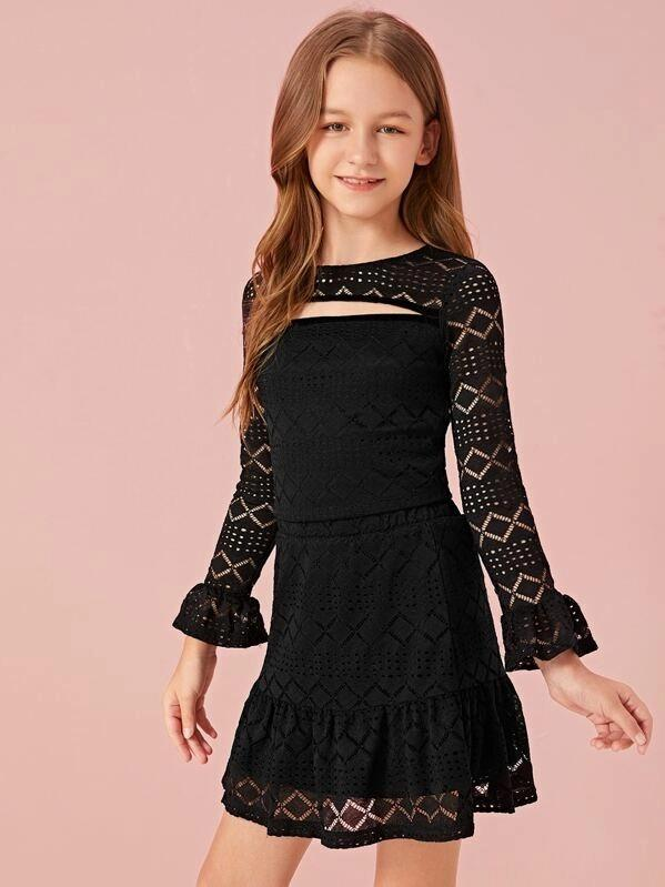 Girls Cutout Front Lace Top & Ruffle Hem Skirt Set
