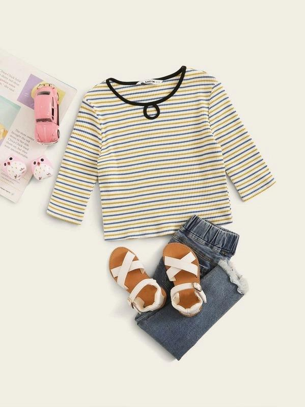 Girls Cutout Front Rib-Knit Striped Tee