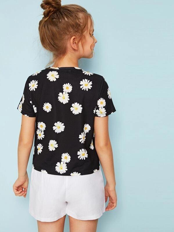 Girls Daisy Floral Print Short Sleeve Top