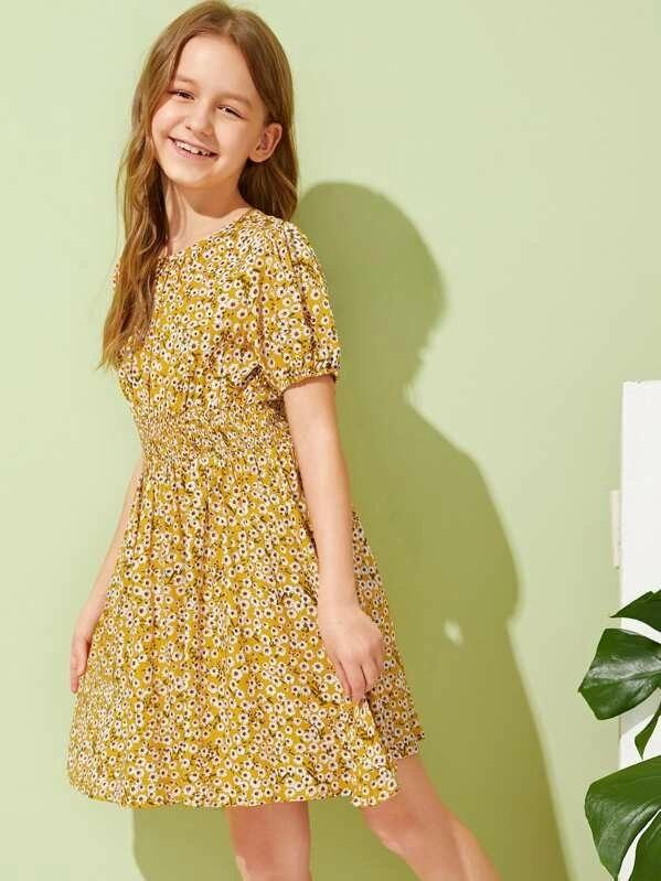 Girls Ditsy Floral Print Shirred Waist Dress