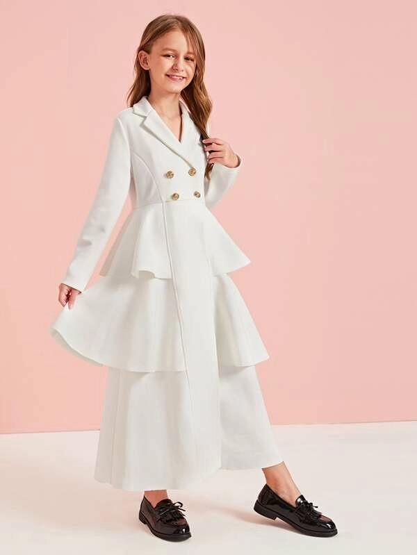 Girls Double Breasted Layered Ruffle Hem Blazer Dress