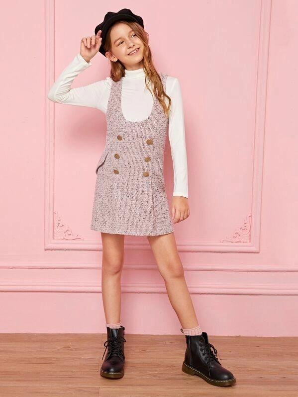 Girls Double Breasted Tweed Pinafore Dress With Top
